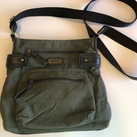 Roots green crossbody bag